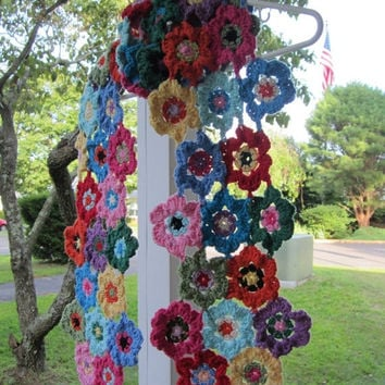 ON SALE - 10% OFF Crochet Granny square  scarf....Handmade fashion accessory...