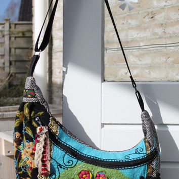 Cross over boho bag with vintage lace, fabrics, new and vintage embroidery and handmade flower felt