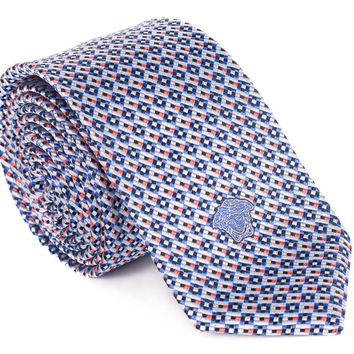 Versace Blue and Orange 100% Silk Geometric Jacquard Tie