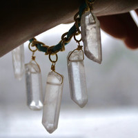 Suede-Wrapped Chain Bracelet with (6) Quartz Crystals - Aqua/Gold