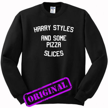 Harry Styles and some pizza slices for sweater black, sweatshirt black unisex adult