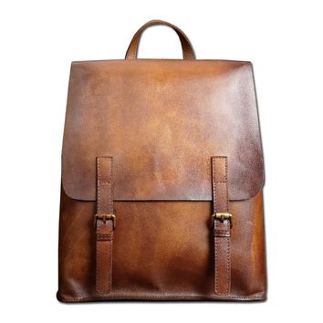 0466e5e2ef Luxury Distressed Genuine Leather Backpack Men s Travel Casual Backpacks  Double Shoulder Bag Zipper Hasp Classic Simple Fashion