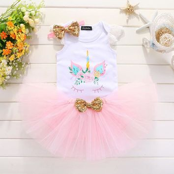Baby Girl Birthday Tutu Dress Kids Baby Clothes Unicorn 12-24 Months 1st 2nd Birthday Christening Dresses For Girls Party Wear