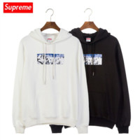 Supreme x THE NORTH FACE new men's and south Korean versions of men's and women's hooded tops