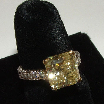 Two tone gold 2.51 carat yellow canary diamond wedding ring antique