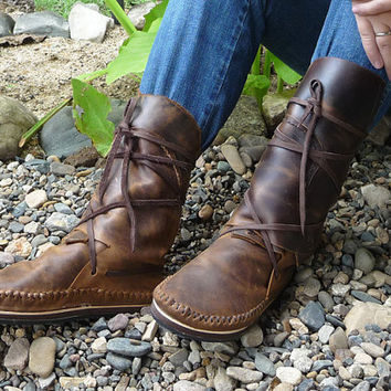"""Special discount. Beautiful Earthy Natural """"Crazy Horse"""" Leather Moccasins"""