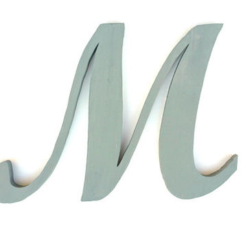 Cursive Letter M, Baby Girl Names, Large Letter Wall Decor, Wooden Gray Letter
