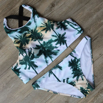 Fashion Sports Letter Print Bikini Set Swimsuit For Women 072001