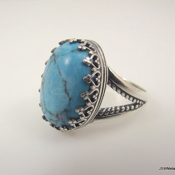 Large Victorian Sterling Silver Turquoise Ring, Ornate Silver Ring, Filigree Ring, Size 8