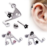 Ear Cartilage Ring Stud Jewelry Triple Trident Lobe Earring CZ 18G