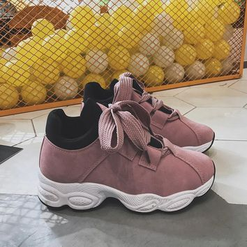 Spring 2018 Women Sneakers Pink Women Casual Shoes Trends Platform Shoes Korean Female Shoes Thick Bottom Trainers Fashion Black
