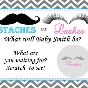 10 Stache or Lash Gender Reveal Baby Shower Scratch Off Cards