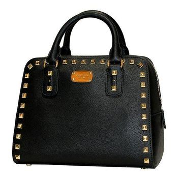 DCCKNY1 MICHAEL Michael Kors Women's Sandrine Studded Saffiano Leather SMALL Satchel Handbag