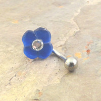 Cobalt Blue Flower Belly Button Jewelry Ring