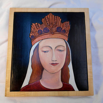 Oil Painting Our Lady of LaSalette, Oil Painting  on Maple of Mary, Painting of Mary, Painting of the Mother of God, home decor, religious
