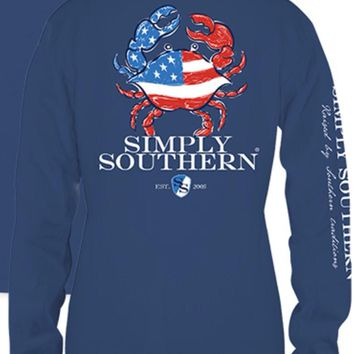 """Simply Southern Unisex """"Moonrise Crab"""" Long Sleeve Tee"""