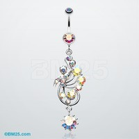 Elegant Journey Vine Swirl Belly Button Ring