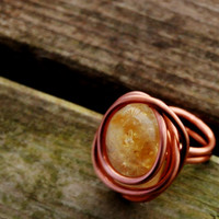 Boho Ring, Citrine Ring,Boho Hippe Ring, Boho Jewelry,Statement Ring, Dinner Ring, Boho Tribal,Wire Wrapped Ring