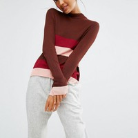 First & I Stripe Colour Block Knitted Top at asos.com