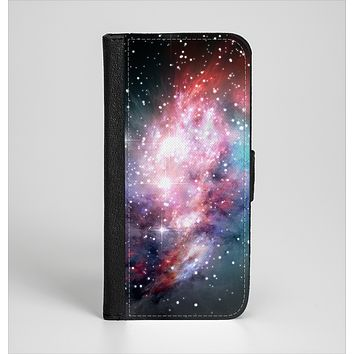 The Colorful Neon Space Nebula Ink-Fuzed Leather Folding Wallet Case for the iPhone 6/6s, 6/6s Plus, 5/5s and 5c