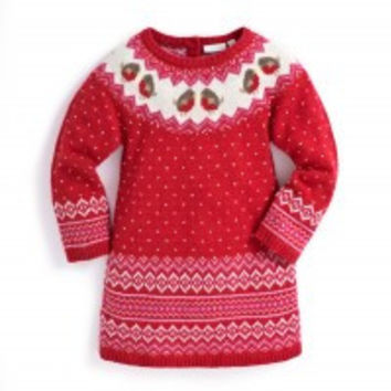 Outlet Jojo Maman Bebe Fair Isle Robin Knitted Dress