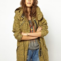 Maison Scotch Printed Parka with Wire Hood -