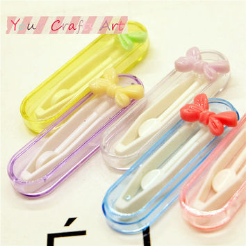 Cute Bow Traveling Contact Lens Eye Case tools tweezers, stick connection