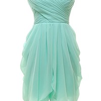 Women's Strapless Chiffon Short Bridesmaid Dresses Prom Gowns