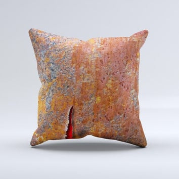 Rusty Metal with Jagged Edge  Ink-Fuzed Decorative Throw Pillow