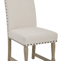 Office Star Kingman Dining Chair with Antique Bronze Nailheads and Brushed legs in Linen Fabric [KMN-L32]