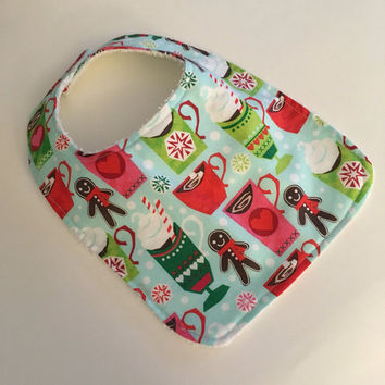 ON SALE Christmas baby bib, winter baby bib, Christmas bib, Holiday baby bib, gingerbread man bib, hot chocolate baby bib, Christmas baby bi