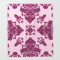Python Lace Fantasy in Pink Throw Blanket by Octavia Soldani | Society6