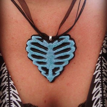 Ribcage Heart Skeleton Blue Glitter Haunted Neck Candy