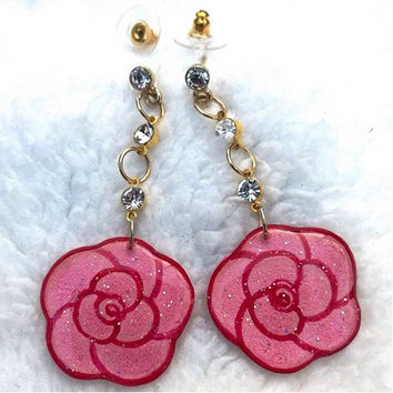 PINK ROSE EARRING