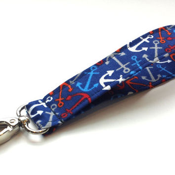 Anchors Away Fabric Wristlet Womens Fabric Keychains Girls Fashion Summer Accessories Beach Wristlet Printed Fabric Key Fob Wrist Lanyard