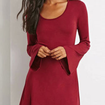 Ladylike Lantern Sleeve Loose-fitting Shift Dress Dress