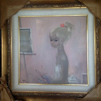 Large Vintage Art Oil Painting IGOR PANTUHOFF Girl with Big Eyes - Lovely!!!