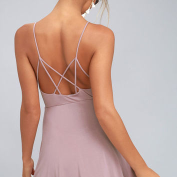 Shore Thing Mauve Skater Dress
