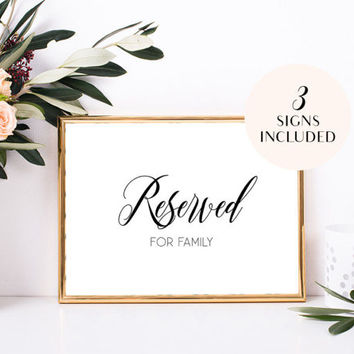 Reserved signs for wedding ceremony Reserved seating signs for chairs Reserved chair signs Reserved for family bride's family groom's family