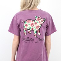 Red Rose Proud Pig Short Sleeve Tee {Berry}