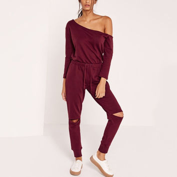 Off Shoulder Rip Knee All In One Long Women Jumpsuit 2016 Autumn Cut Out Fashion Long Sleeve Rompers Casual Playsuits Overalls