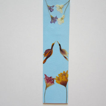 "Handmade unique bookmark ""Opposites attract"" - Decorated with dried pressed flowers and herbs - Original art collage."