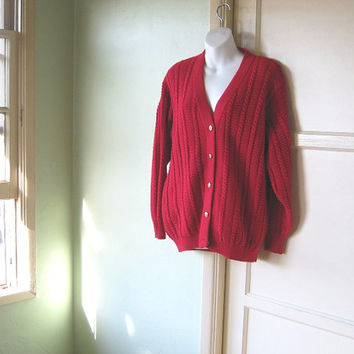 Maraschino Cherry Red Cabled Cardigan - Men's Small/Women's Large/Oversized Red 'Old Man' Button Up Sweater - Grunge Dress Layering Sweater