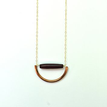 Necklace - Copper & Bone Anja Necklace - Copper half circle with Red Bone cylinder on Gold Chain -