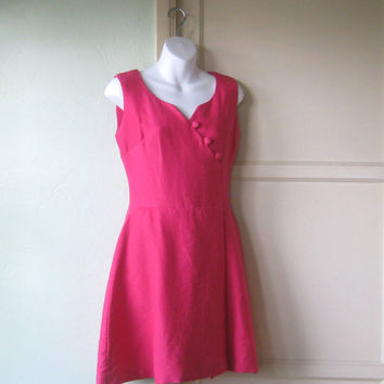Short Pink 1960s Party Dress - XS Vintage Hot Pink Dress; Wool Boucle - Small Pink Dress - Flare Skirt Pink Dress; Vintage