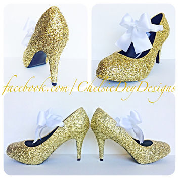 The Gold Starlet with White Bow Glitter High Heels