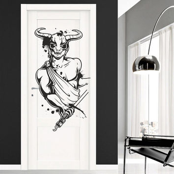 I171 Wall Decal Vinyl Sticker Art Decor Design horns sword hero Boy horns Chilling Skull Mural Living Room Bedroom Modern Gift