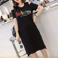 """""""Burberry"""" Sundress Casual Fashion Rainbow Letter Embroidery Short Sleeve Middle Long Section T-shirt Bare Shoulder Dress"""