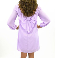 Suzy Bell Lilac Purple Chevron Bow Back Dress