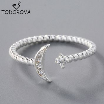 Todorova 925 Sterling Silver White CZ Twisted Roped Crescent Moon Star Adjustable Rings for Women Charming Christmas Gift